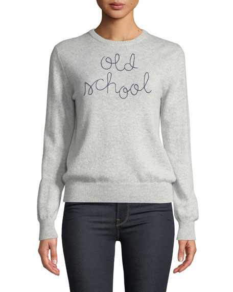 LINGUA FRANCA Old School Embroidered Cashmere Sweater in Smoke