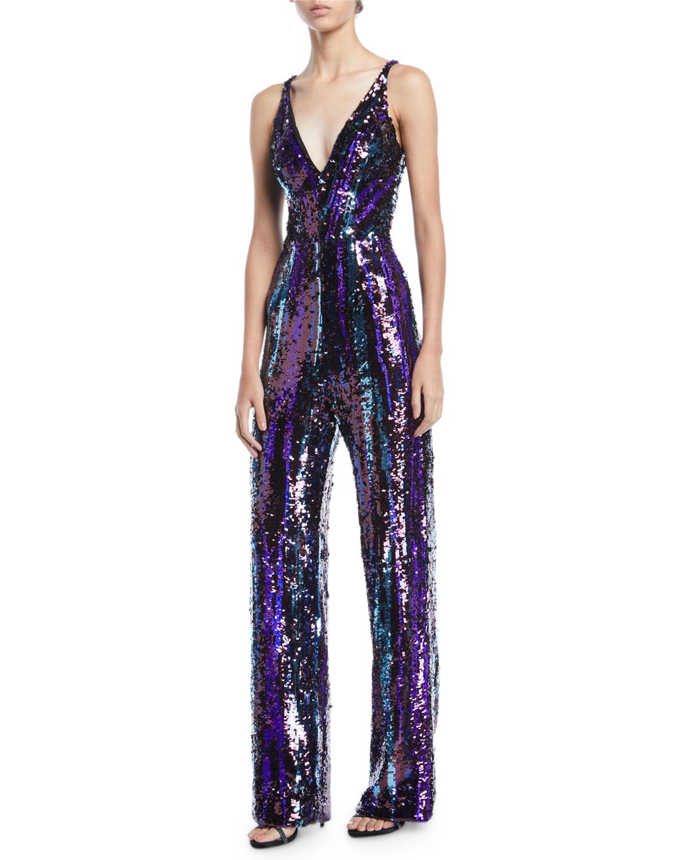 381cf021b25 Dress The PopulationCharlie Brushstroke Sequin Sleeveless Jumpsuit