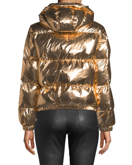 Image 2 of 4: Durham Hooded Metallic Puffer Jacket