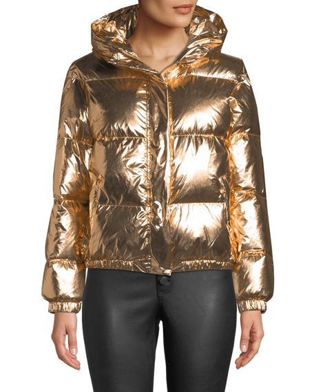 Image 3 of 4: Durham Hooded Metallic Puffer Jacket