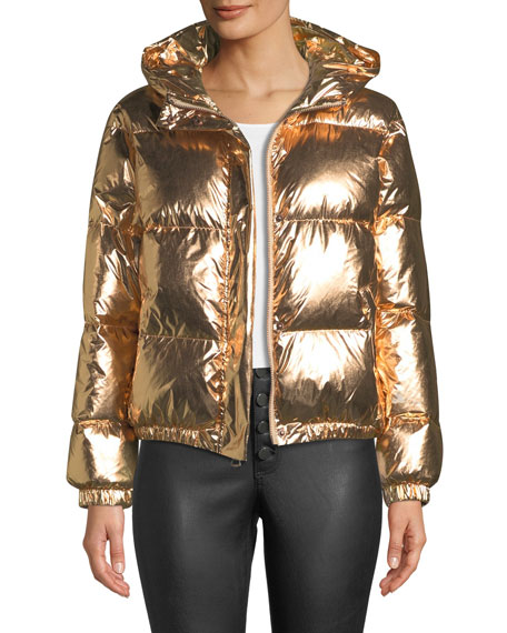 Image 1 of 4: Durham Hooded Metallic Puffer Jacket