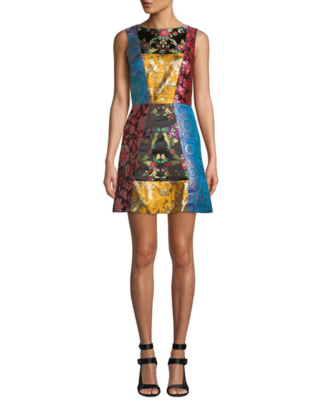 Malin Patchwork Jacquard Sequin A-Line Mini Dress in Multicolour