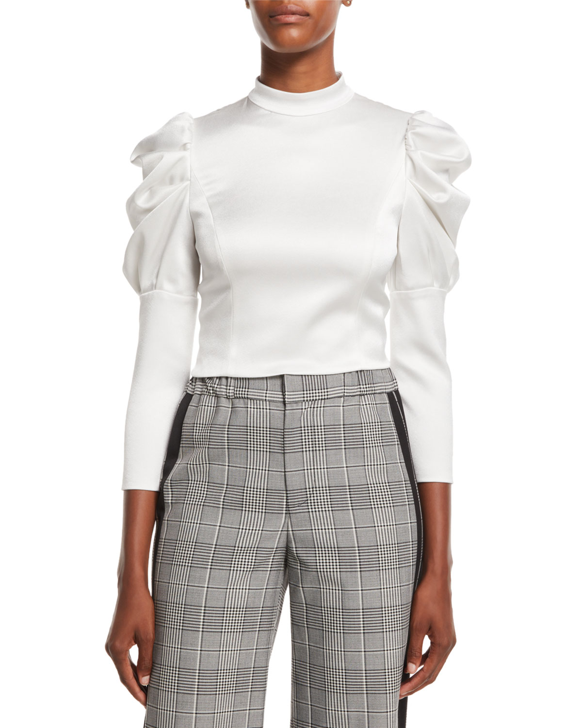 Alice Olivia Brenna Fitted Puff Sleeve Top Neiman Marcus