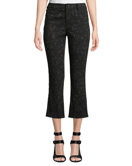 Drew Lace Cropped Bell Pants in Black
