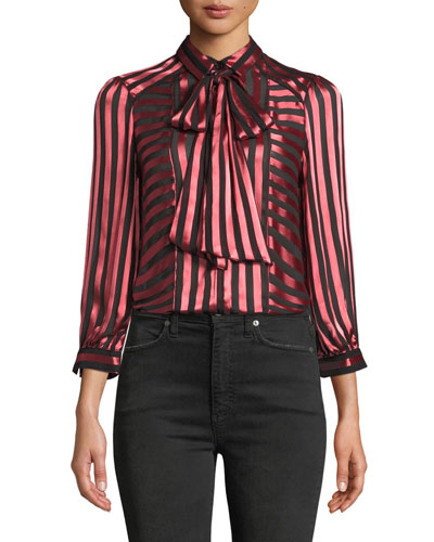 Willis Tie-Neck Button-Down Top