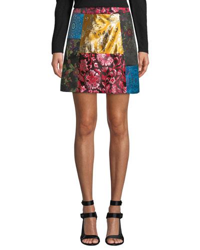 Riley Patchwork A-Line Short Skirt