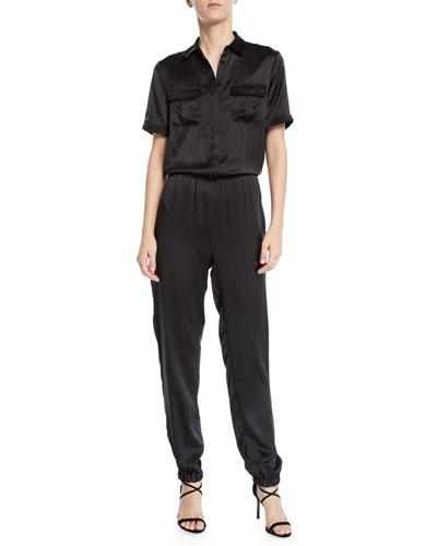 The Maddi Silk Charmeuse Button-Down Jumpsuit