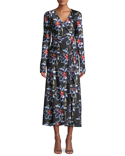Tilly Long-Sleeve Floral Silk Wrap Dress