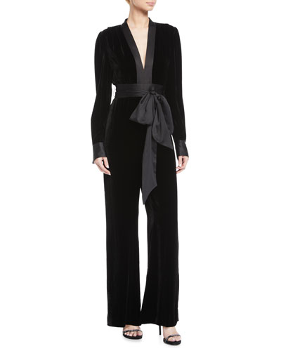Velvet Long-Sleeve V-Neck Jumpsuit w/ Sash