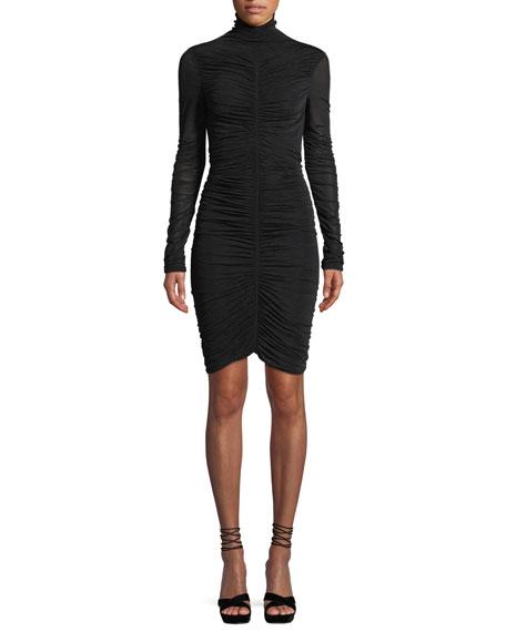 Olivia Turtleneck Long-Sleeve Ruched Mesh Mini Dress