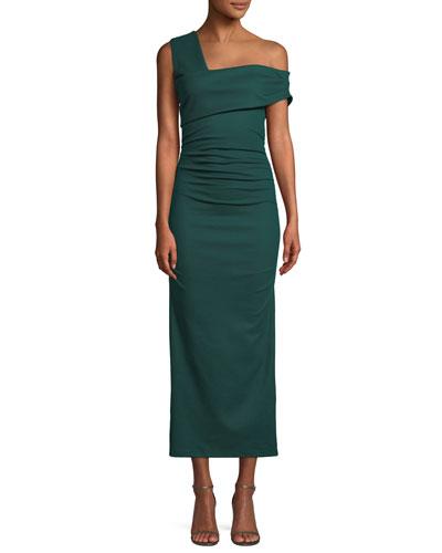Bently One-Shoulder Midi Cocktail Dress