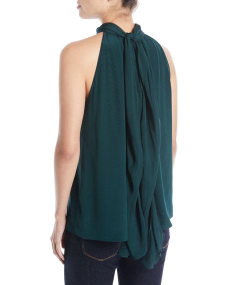Sleeveless High-Neck Silk Blouse
