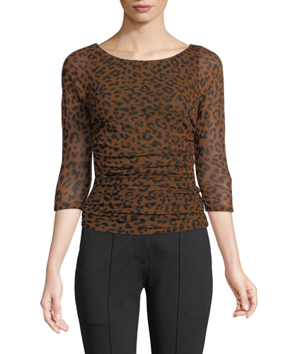 Ruched Mesh 3/4-Sleeve Leopard-Print Blouse