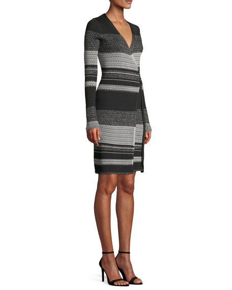 Diane von Furstenberg Long-Sleeve Metallic Striped Wrap Dress