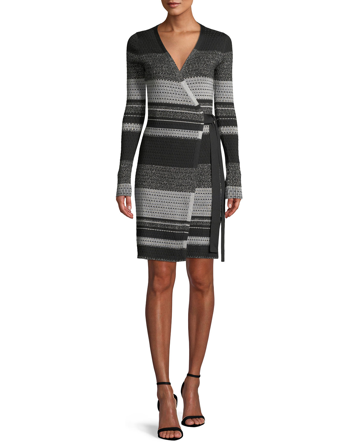 7678205bd8b47 Diane von Furstenberg Long-Sleeve Metallic Striped Wrap Dress ...