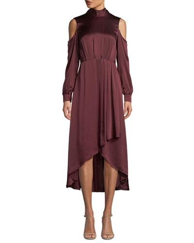 Mock-Neck Cold-Shoulder Silk High-Low Gown