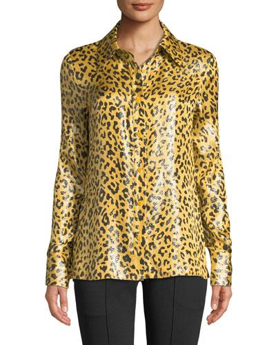 Leopard-Print Metallic Button-Front Shirt