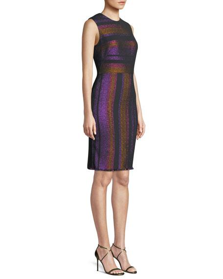 Metallic-Stripe Sleeveless Sheath Dress