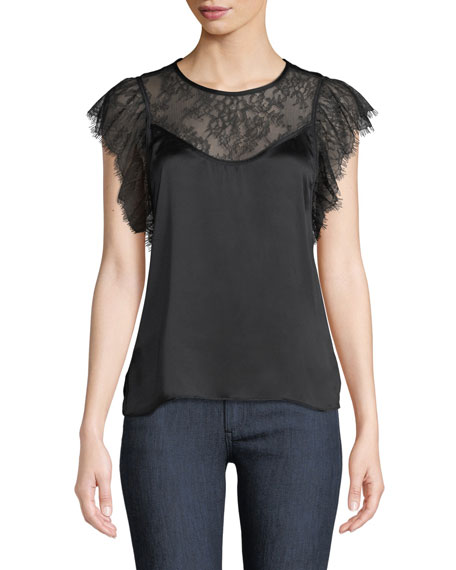 CAMI NYC The Vivian Layered Lace Silk Charmeuse Top in Black