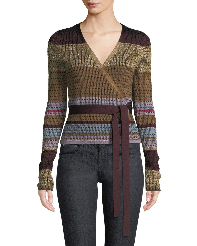 52aaddc78ac1 Diane von Furstenberg Metallic Striped Wrap Sweater