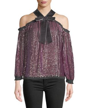 a43de8578a5e7 Needle   Thread Kaleidoscope Sequin Velvet Cold-Shoulder Top
