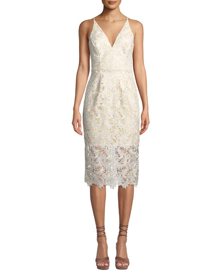 Dress The Population Aurora V-Neck Floral Lace Midi
