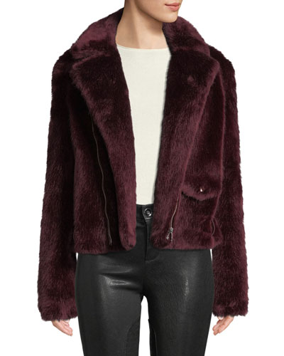Shrua Zip-Front Belted Faux-Fur Jacket