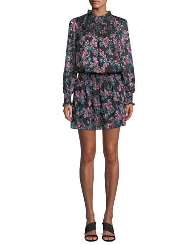 Perla Long-Sleeve Floral Mini Dress