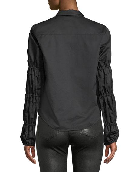 Andriel Button-Front Ruffle Cotton Shirt