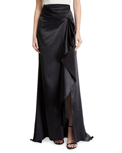 Brill Long Draped-Front Satin Skirt