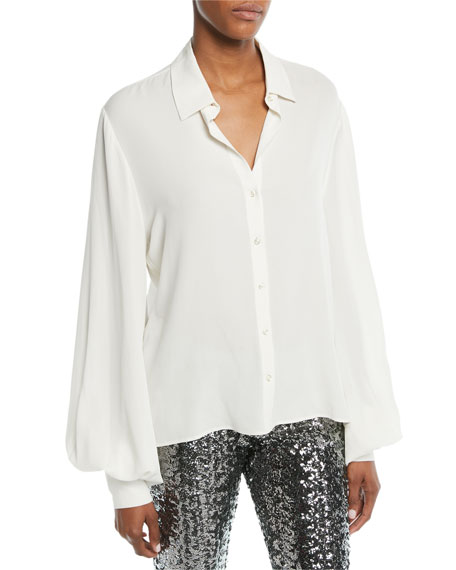 Aster Button-Front Long-Sleeve Silk Top, White