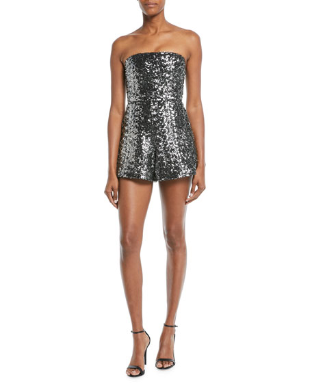 ALEXIS Rosemary Sequin Strapless Romper in Metallic