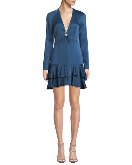Hylda Plunging Long-Sleeve Twill Flounce Dress in Blue