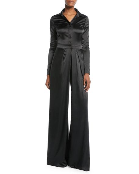 Burnette Split-Leg Long-Sleeve Jumpsuit in Black