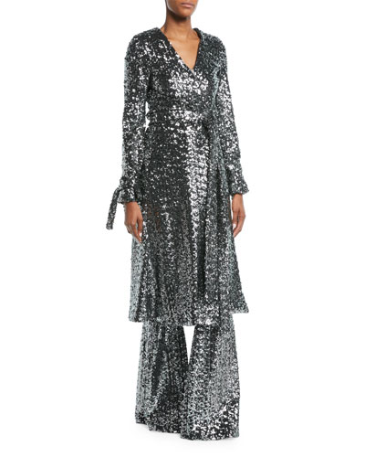 Niecy Sequin Wrap Long-Sleeve Cocktail Kimono Dress