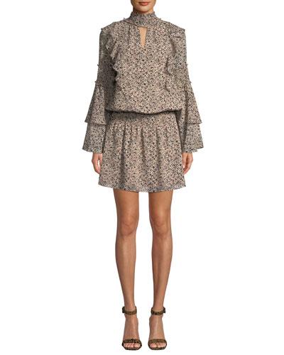 Elliana Printed High-Neck Ruffle Short Dress
