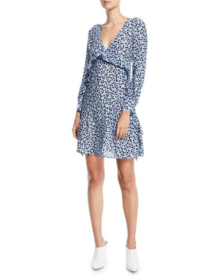 No. 21 Star-Print Ruffle Silk Short Dress