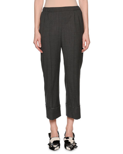 Cropped Wool Beaded Straight-Leg Pants