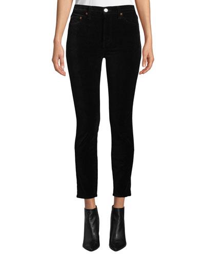 High-Rise Ankle Crop Velvet Skinny Pants