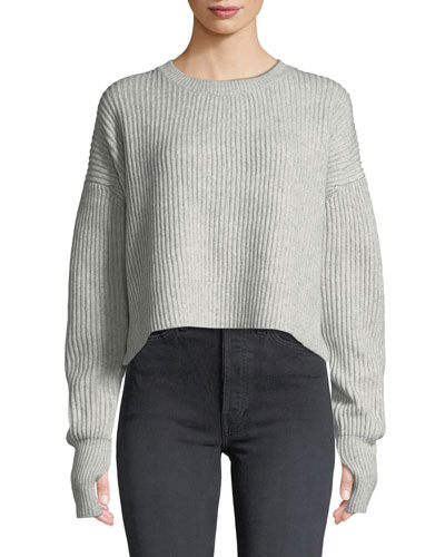 Cropped Wool-Cashmere Ribbed Sweater