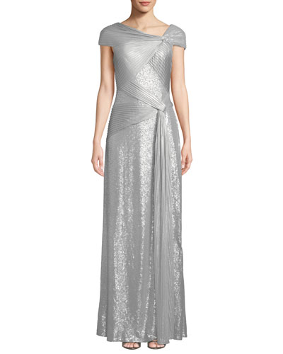 One-Shoulder Metallic Pintuck Gown