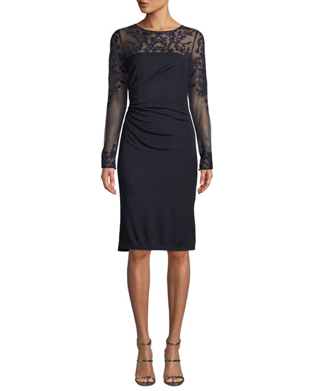 DAVID MEISTER Tattoo Sheer Long-Sleeve Ruched Dress in Navy