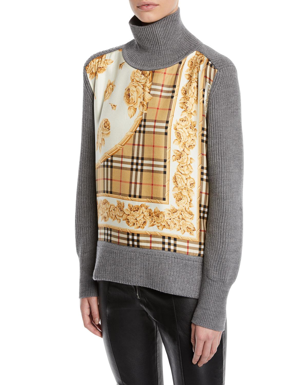 94e71ebc9696 Burberry Archive Scarf-Panel Wool Turtleneck Sweater