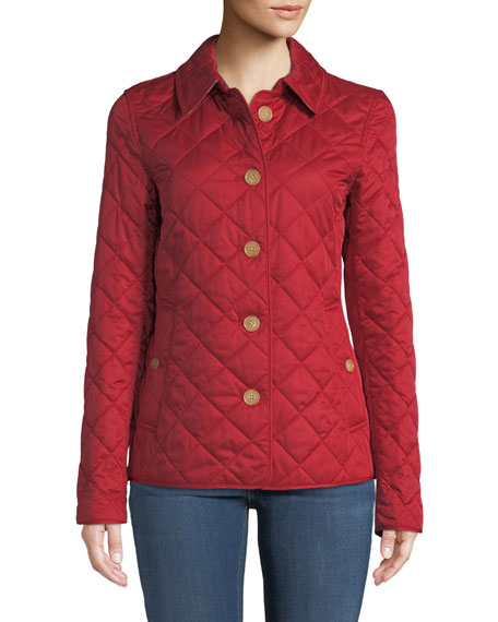 Burberry Frankby Button-Front Quilted Jacket, Military Red
