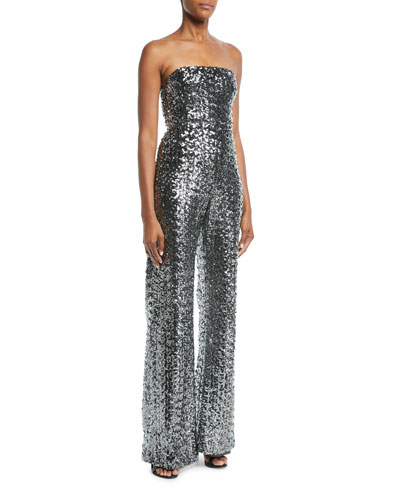 Carleen Sequin Strapless Wide-Leg Jumpsuit