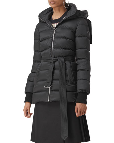 Limehouse Mid-Length Puffer Coat with Detachable Hood