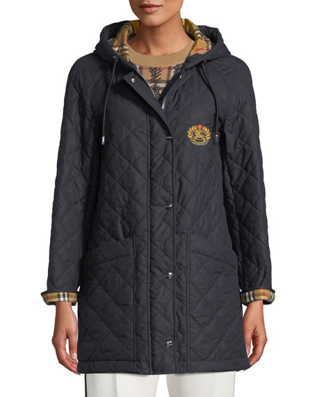 Burberry Roxwell Diamond-Quilted Hooded Parka Jacket