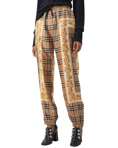 Yewbury Scarf-Print Silk Jogger Pants