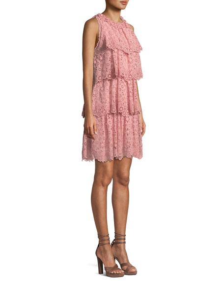 Tiered Sleeveless Pinwheel Eyelet Dress