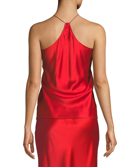Draped Back Silk Satin Camisole Top